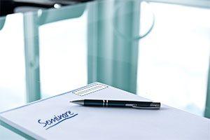 Schreibblock mit Seminare geschrieben