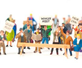 Miniaturfiguren, die streiken